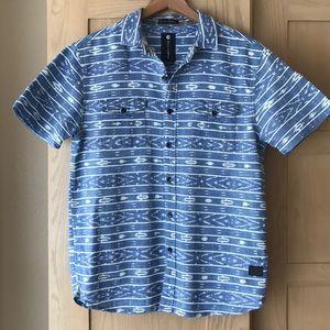 Billabong Blue Print Short Sleeve Shirt Small